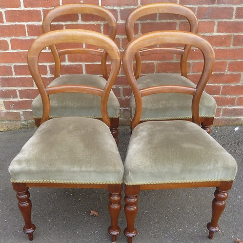 Set 4 Victorian balloon back chairs blackwood