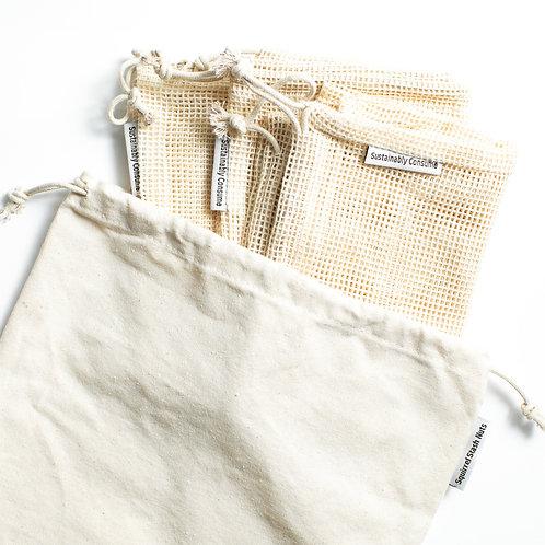 Cotton Produce Bag Set - 4 pieces