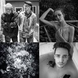 Black and white photo set