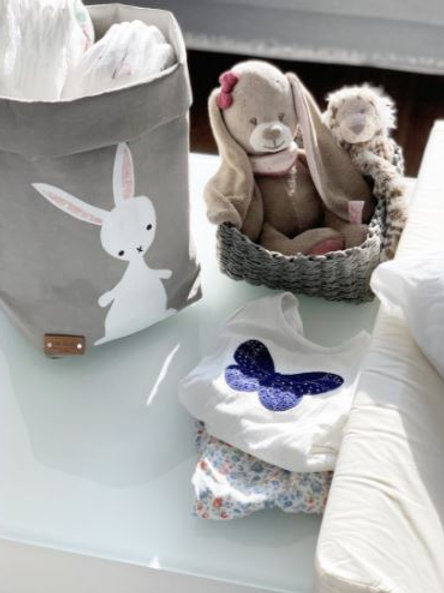 EnjoyyourlifebyDemi  grey BUNNY leather paper basket