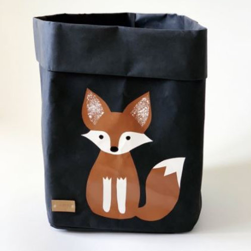 EnjoyyourlifebyDemi  black FOX leather paper basket