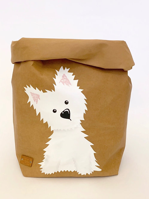 EnjoyyourlifebyDemi  brown WESTIE leather paper basket