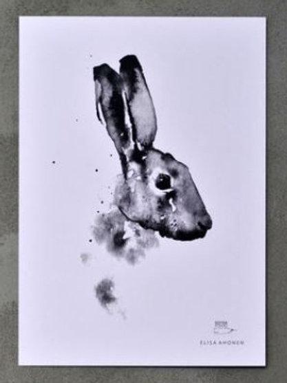 """Ester Visual  black/white BROWN HARE print (8.3"""" X 11.7"""")"""