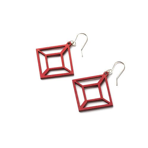 VALONA Himmeli wood earrings red