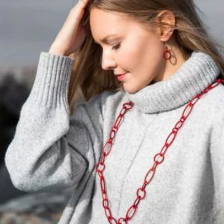 VALONA Halo wood necklace red