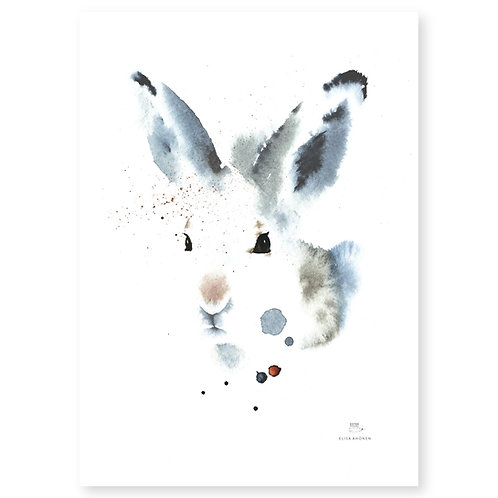 "Ester Visual WHITE HARE print (20"" X 28"")"