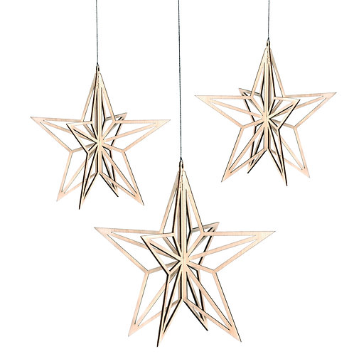 VALONA wooden stars set of 3