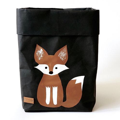EnjoyyourlifebyDemi  black FOX leather paper basket