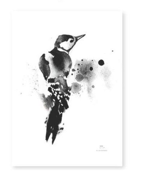 "Ester Visual  black/white WOODPECKER print (8.3"" X 11.7"")"