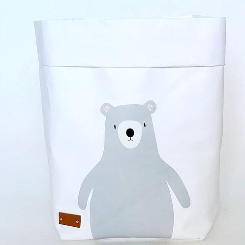 EnjoyyourlifebyDemi  white BEAR leather paper basket