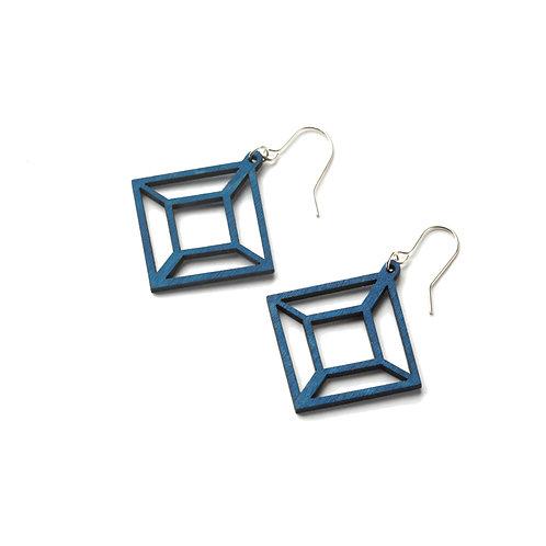 VALONA Himmeli wood earrings blue