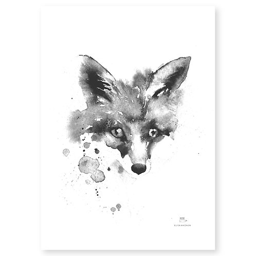 "Ester Visual black/white Fox art card (5.12"" x 7.10"")"