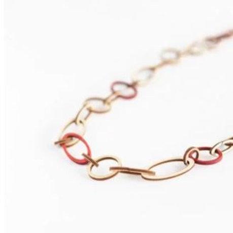 VALONA Halo wood necklace red & wood