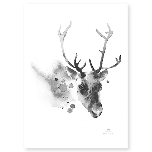 "Ester Visual black/white Reindeer art card (5.12"" x 7.10"")"