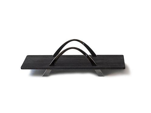 BE&LIV Bridge serving tray black wood w/black chrome