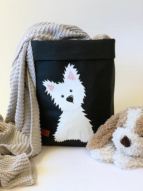 EnjoyyourlifebyDemi  black WESTIE leather paper basket
