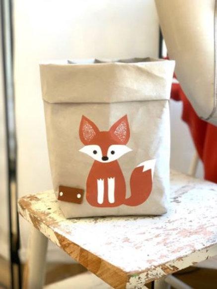 EnjoyyourlifebyDemi  grey FOX leather paper basket