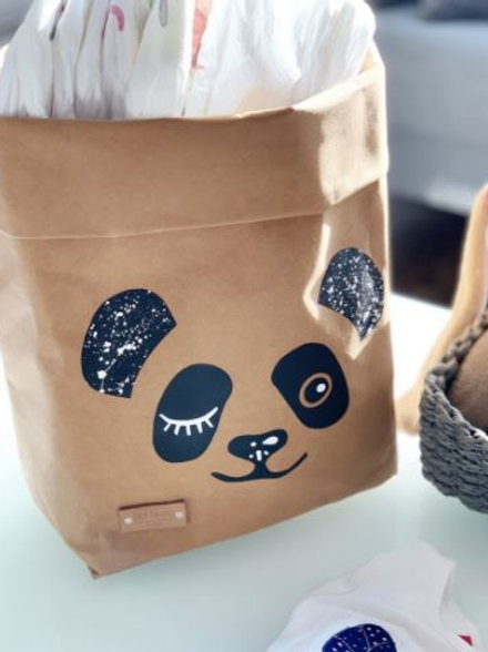 EnjoyyourlifebyDemi  brown PANDA leather paper basket