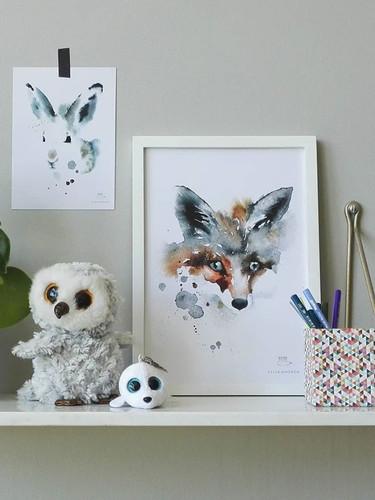 Fox Print and White Hare Art Card