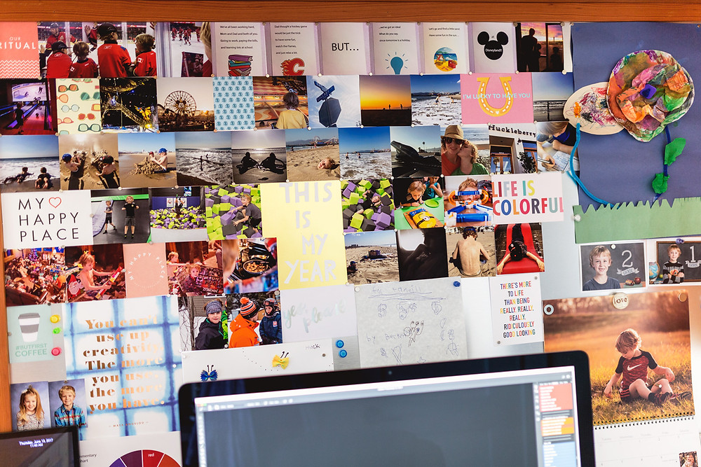 Office space magnet board photo display