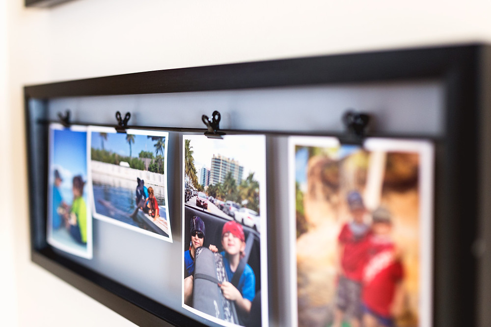 Close up of clip photo display