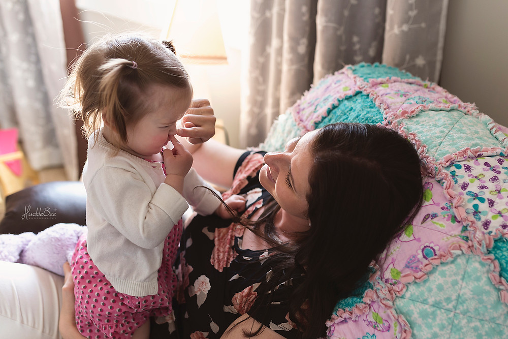 Playing 'Where's your nose' with mom | Medicine Hat Lifestyle Family Photographer