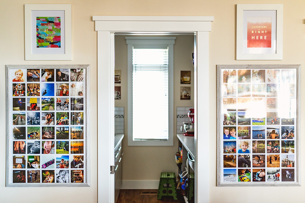 Kitchen photo display of yearly posters