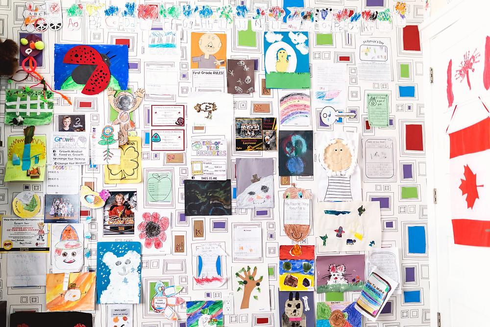 Boys room school project display wall