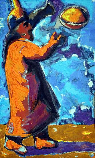 Self-Portrait as a Warrior Throwing Away a Rock, Moldakul Narymbetov