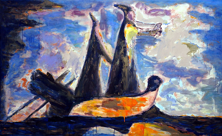 Two on a boat, Moldakul Narymbetov