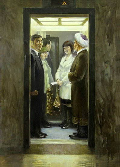 In a lift, Askhat Akhmedyarov