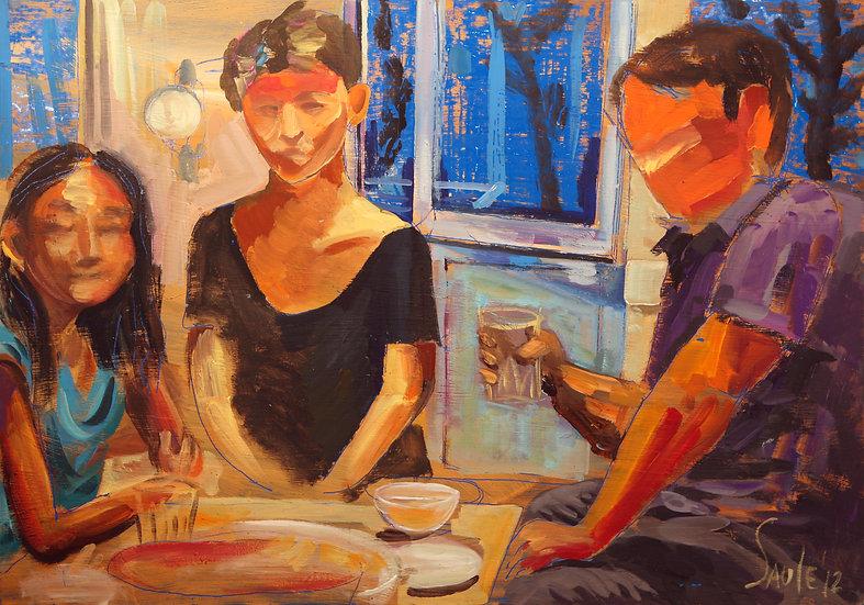 Family dinner, Saule Suleimenova