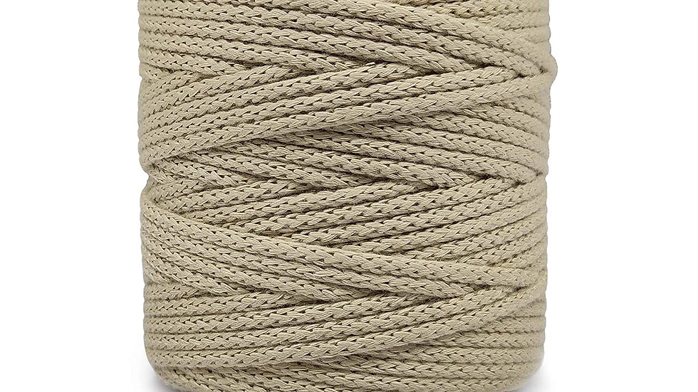 Knitted Macrame Polyester Cord/Dori Thread (10 Meters, 4mm) for Macrame  (Beige)
