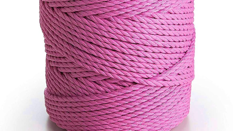 3 Ply/Twisted Macrame Cotton Cord/Dori Thread (100 Meters, 3mm) (Pink)