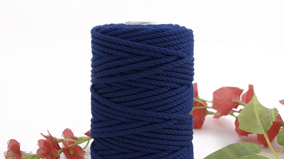 Ajanta | 3 Ply/Twisted Macrame Polyester Cord/Dori Thread (50 Meters, 4mm)(Blue)