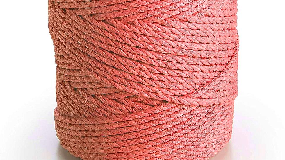 3 Ply/Twisted Macrame Cotton Cord/Dori Thread (100 Meters, 3mm) (Peach Pink)