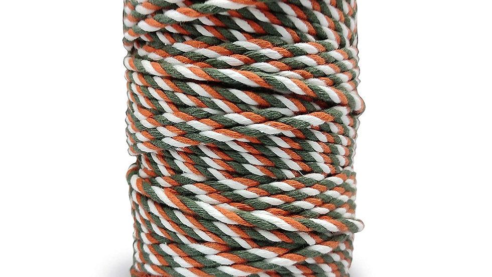 3 Ply/Twisted Multicolor Macrame Cord/Dori Thread (100 Meters,4mm)(Green/Orange)