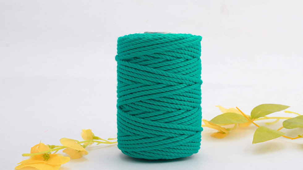 3 Ply/Twisted Green Color Macrame Cotton Cord/Dori (50m, 3mm)
