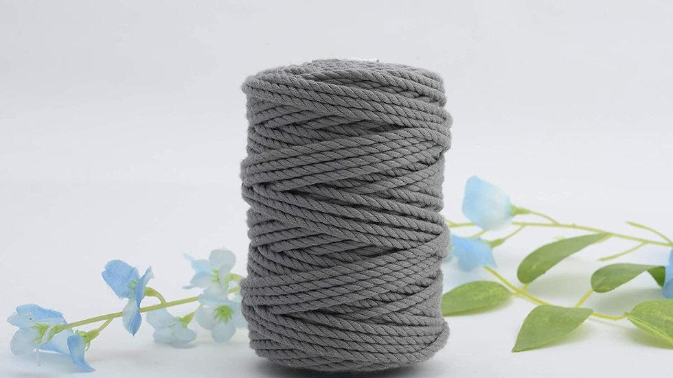 3 Ply/Twisted Macrame Polyester Cord/Dori Thread (200 Meters, 4mm)(Dark Grey)