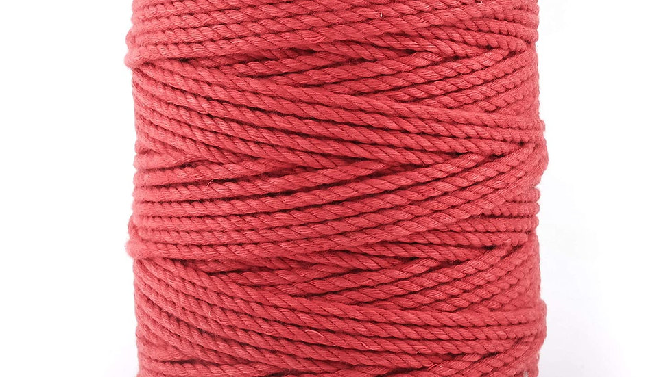 3 Ply/Twisted Macrame Polyester Thread, Cord/Dori (20 Meters, 4mm)(Red)