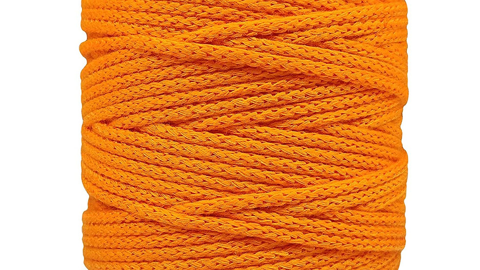 Knitted Macrame Cotton Cord/Dori Thread (200 Meters, 4mm) for Macrame (Orange)