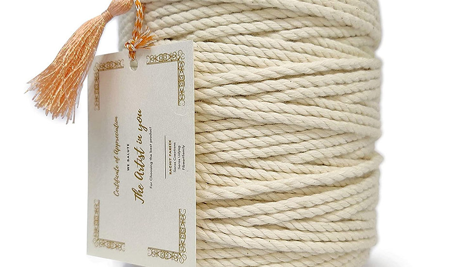 3 Ply/Twisted Macrame Cotton Cord/Dori (100 Meters, 4mm)