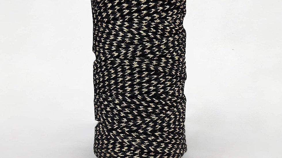 Twisted Multicolor Macrame Cord/Dori Thread (20 Meters, 2mm)(Black Zari)
