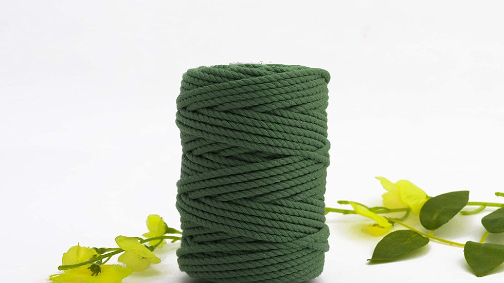 3 Ply/Twisted Macrame Polyester Cord/Dori Thread (50 Meters, 4mm)  (Army Green)