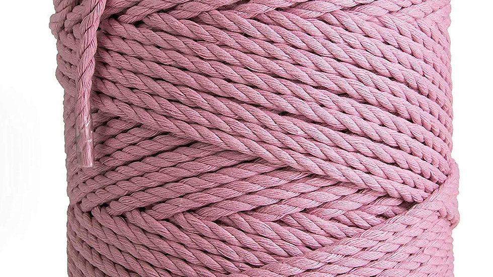 3 Ply/Twisted Macrame Cotton Cord/Dori Thread (20 Meters, 3mm) (Baby Pink)