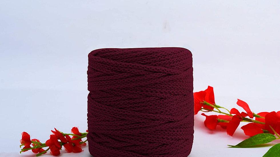 Knitted Macrame Cotton (100m, 4mm) Cord/Dori Thread for Macrame(Maroon)