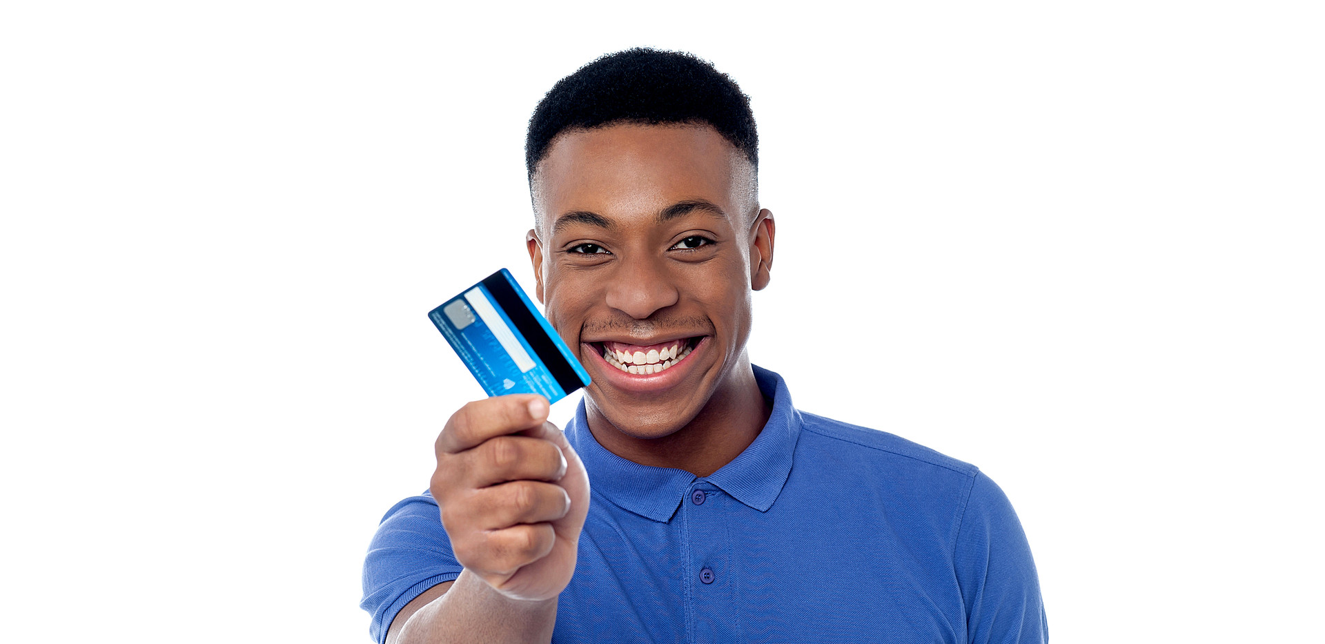 Smiling young boy showing credit card.jp