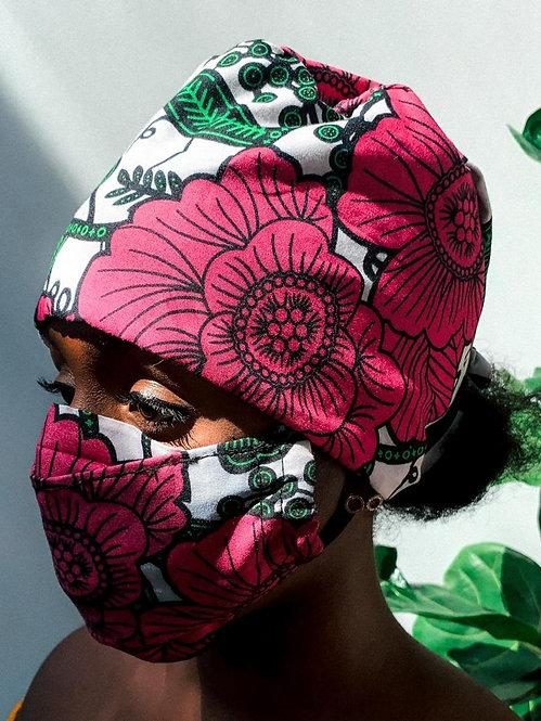 Afriq scrub cap and facemask