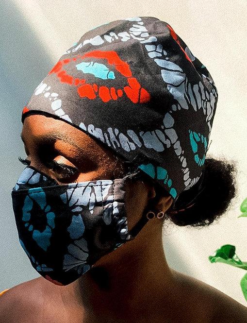 Afriq scrub cap and mask