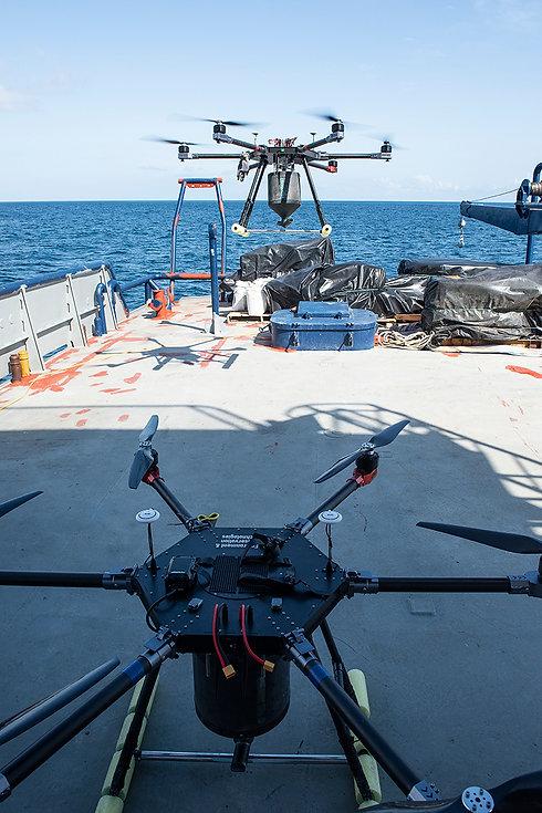 Galapagos boat aerial baiting drones rpas